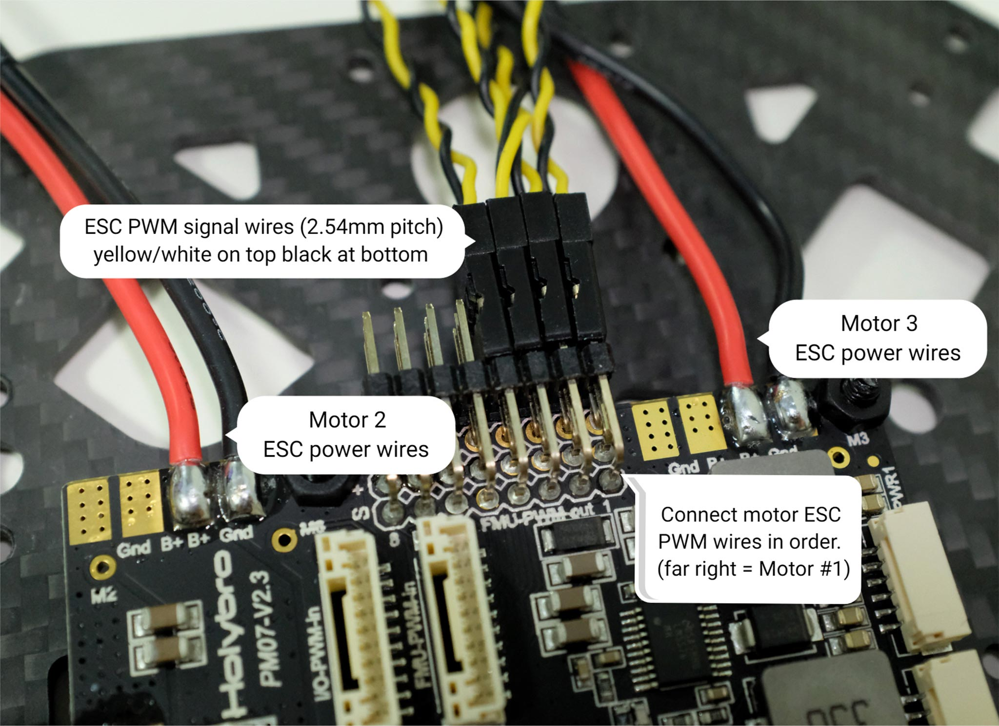 ESC power module and signal wiring