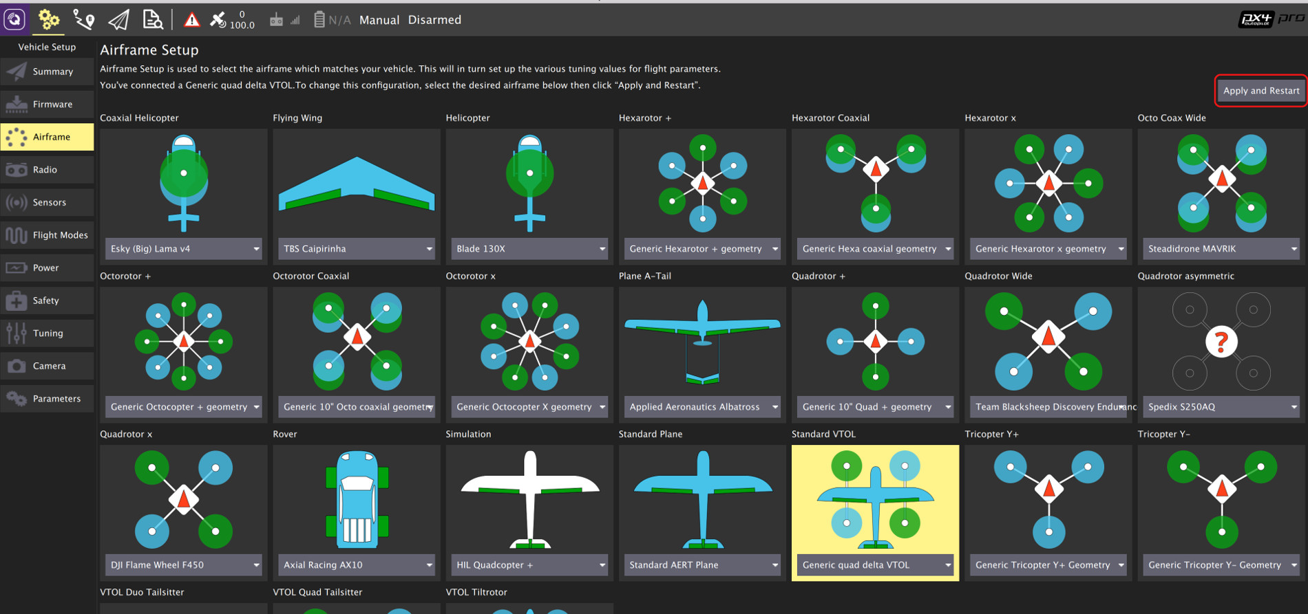 Falcon Vertigo QuadPlane (Dropix) · PX4 v1 9 0 User Guide